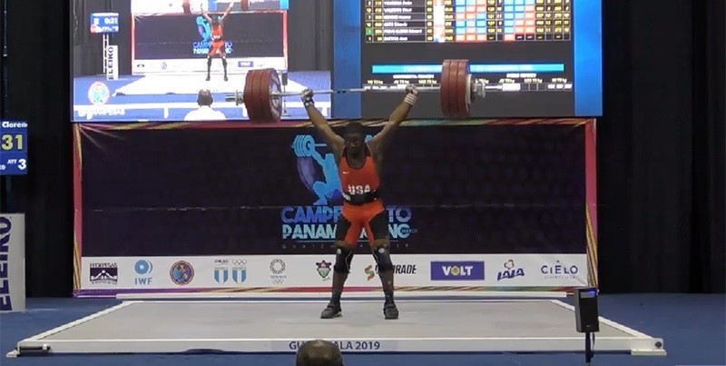 CJ Cummings swept the men's 73kg gold medals and set 15 records at the Pan American Weightlifting Championships in Guatemala City to be voted male athlete of the month for April by the USOC ©PAWF