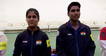 Manu Bhaker and Chaudhary Saurab won gold in the 10m air pistol mixed final at the ISSF Rifle and Pistol World Cup in Beijing ©ISSF