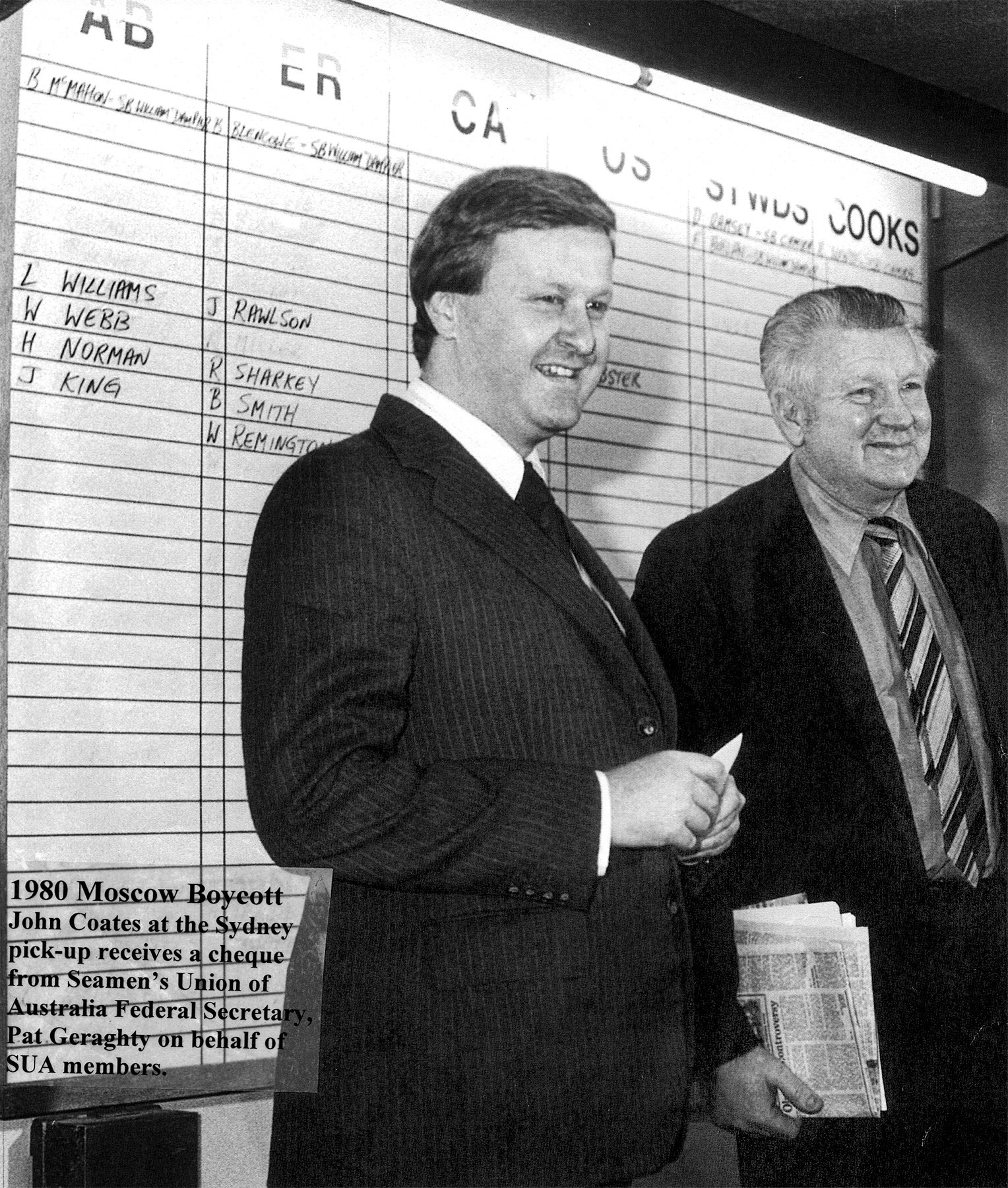 John Coates, left, led the campaign to ignore calls from the Australian Government to boycott the 1980 Olympic Games in Moscow following the Soviet Union invasion of Afghanistan ©Getty Images