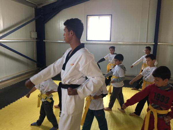 The Taekwondo Humanitarian Foundation teaches taekwondo to refugees around the world ©THF