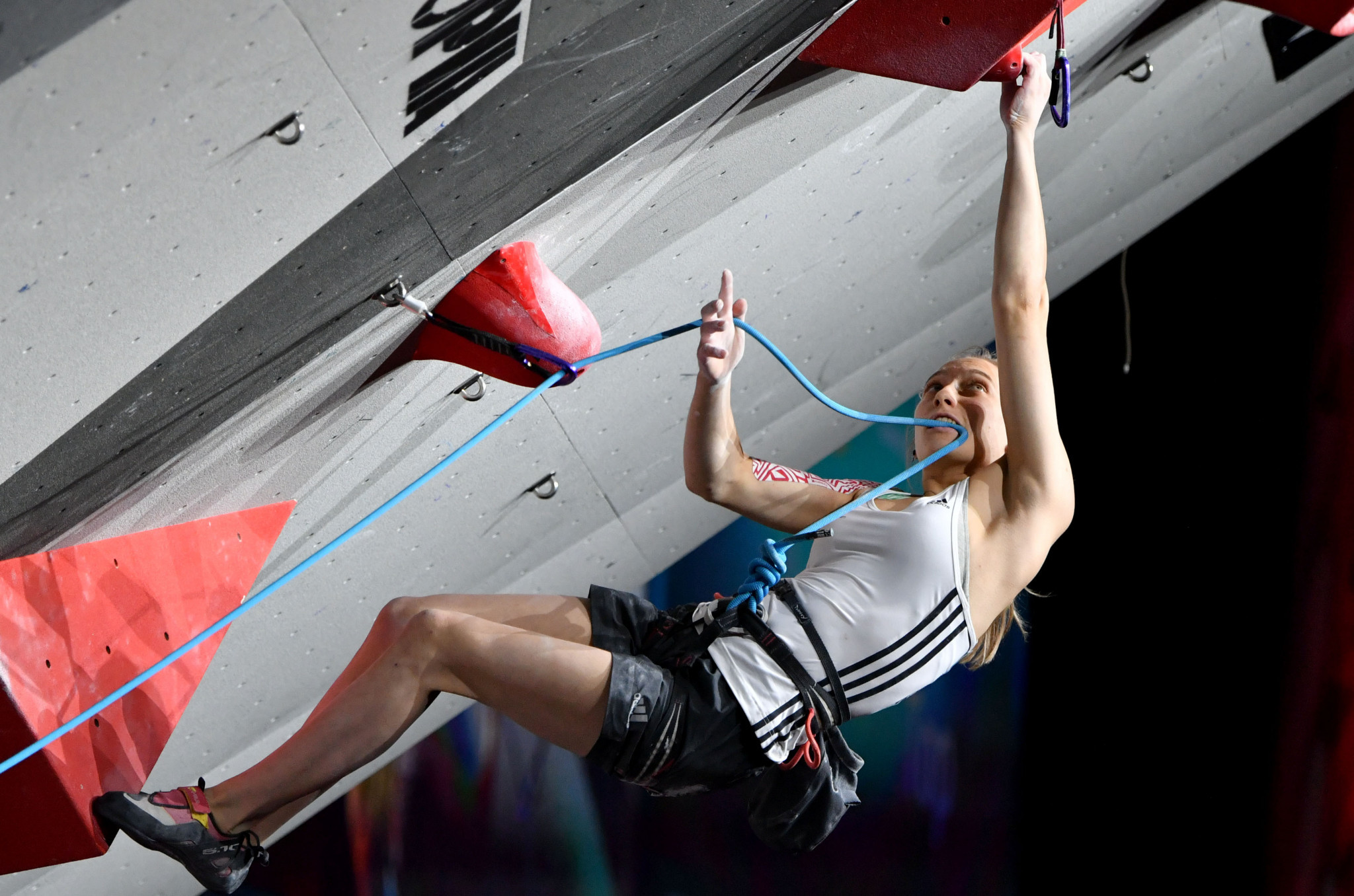 Slovenia's Janja Garnbret won her third successive bouldering gold medal at the IFSC World Cup event in Chongqing ©Getty Images