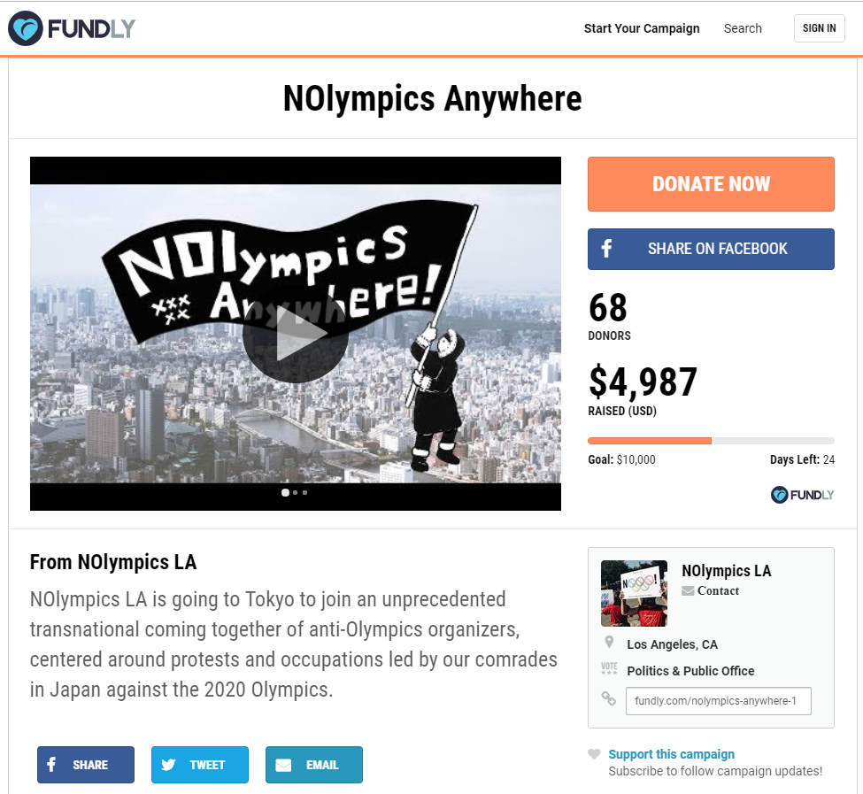 NOlympicsLA have launched a fundraising campaign to attend a series of anti-Olympic events in Tokyo ©Fundly