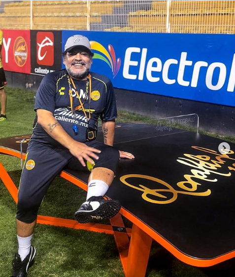 "Argentine legend Diego Maradona has become the latest addition to the ""teqball family"" ©ronaldinho/Instagram"