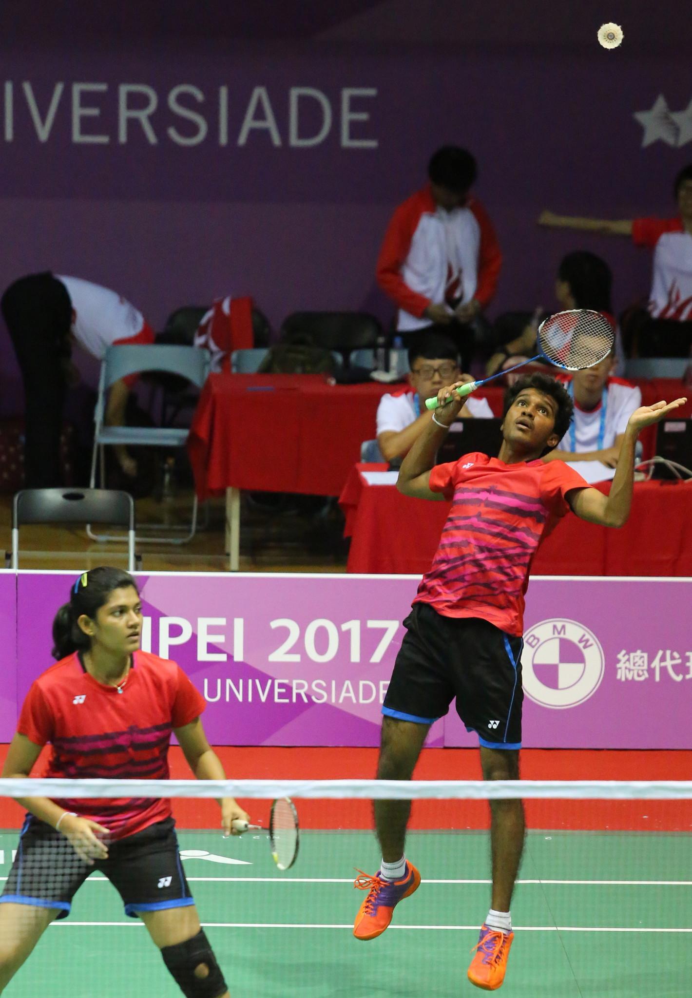 Sri Lankan badminton players in action at the Taipei 2017 Summer Universiade ©FISU