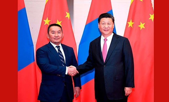 The main purpose of Battulga Khaltmaa's visit to Beijing was to hold talks with China's President Xi Jinping at the Great Hall of the People ©IJF