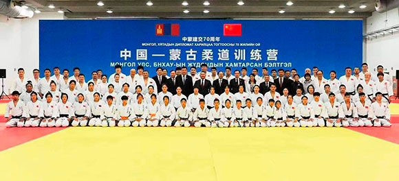 Mongolian Judo Association President Battulga Khaltmaa attended a joint China-Mongolia training camp during a visit to Beijing ©IJF