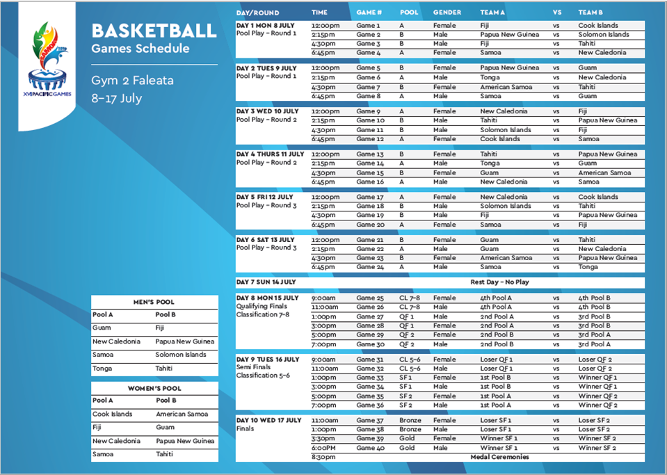 The full basketball schedule for the Samoa 2019 Pacific Games ©Samoa 2019