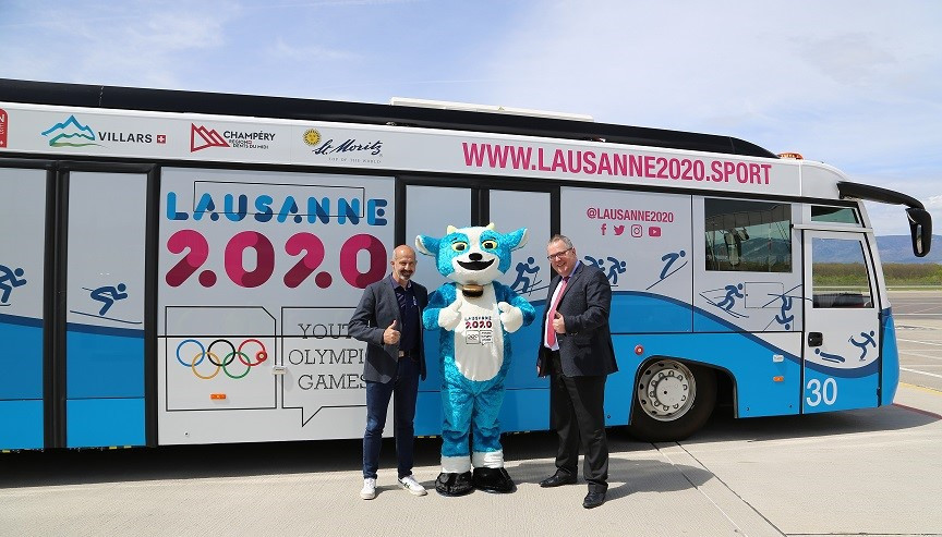Geneva Airport taking on colours of Lausanne 2020