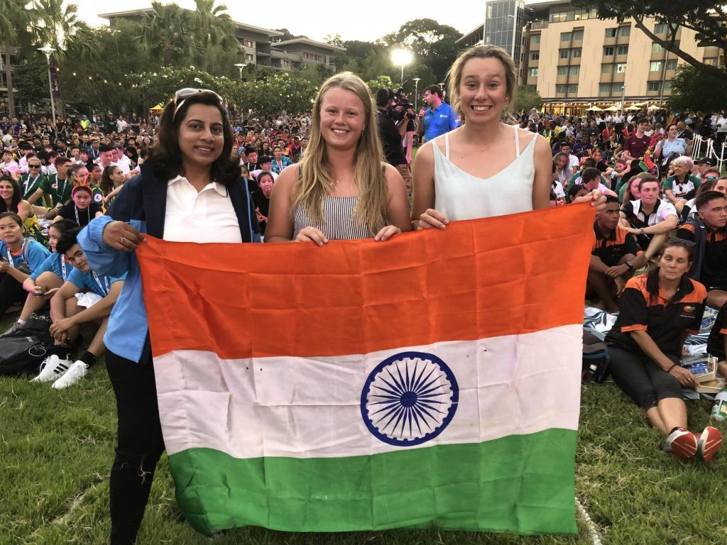 Unlikely crew-mates from India and Australia prepare for the opening day of match racing at Darwin Sailing Club ©Darwin2019