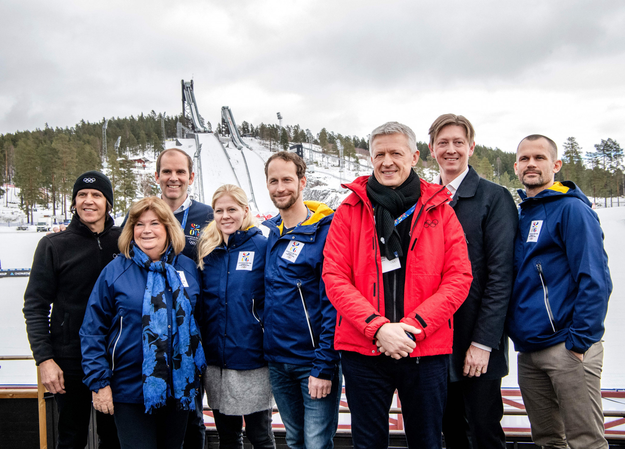 Richard Brisius, second from left at the back, is the chief executive of Stockholm Åre 2026 ©Getty Images
