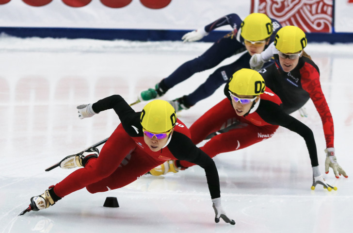 Short track speed skater Wang Meng, front, the most decorated Chinese winter Olympian in history, has been appointed head coach of the national speed skating team ©Getty Images