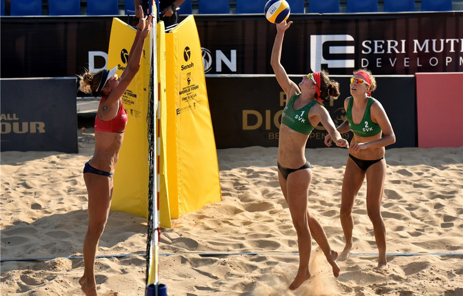Slovakia's Andrea Strbova and Natalia Dubovcova beat fourth seeds Laura Ludwig and Margareta Kozuch of Germany ©FIVB