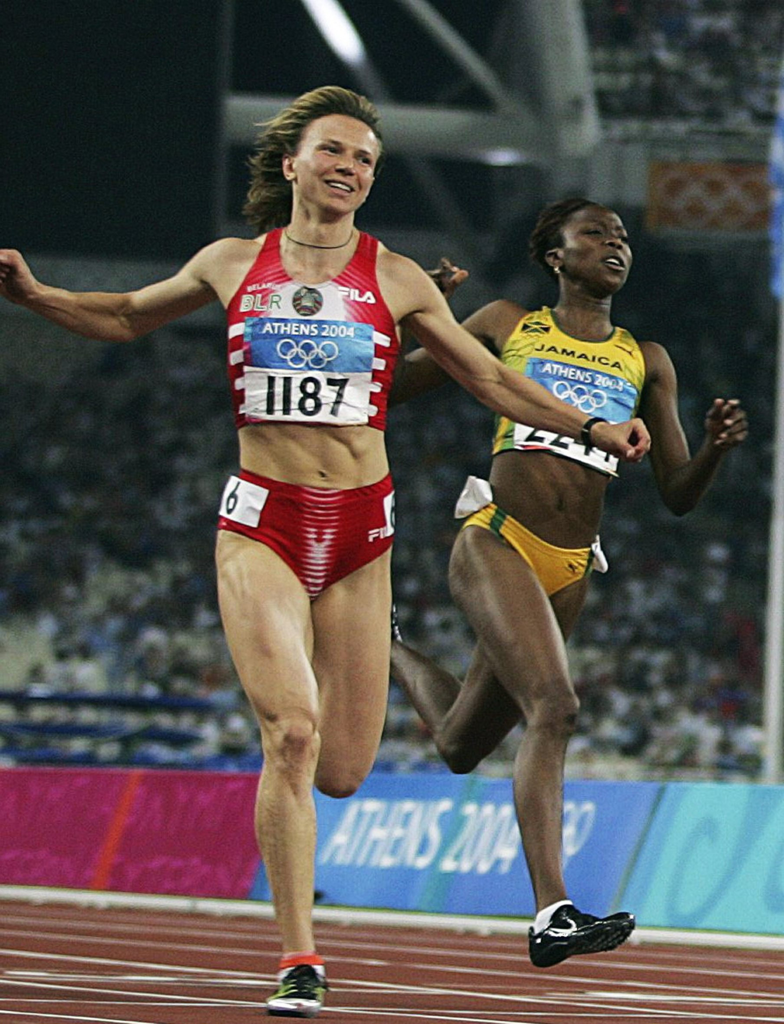 Yulia Nesterenko won the Olympic 100 metres gold medal at Athens 2004 and is an ambassador for Minsk 2019 ©Getty Images