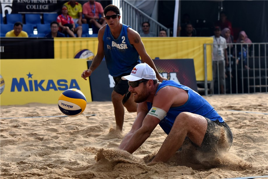 Olympic gold medallist Alison Cerutti and partner Alvaro Filho of Brazil reached the last four at a World Tour event for the first time ©FIVB