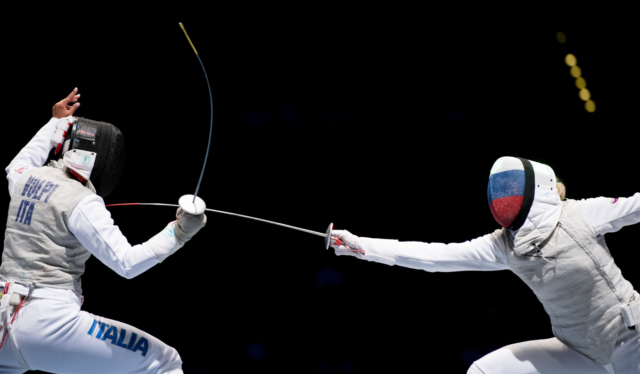 Inna Deriglazova, right, won the women's Foil World Cup event in Germany ©Getty Images