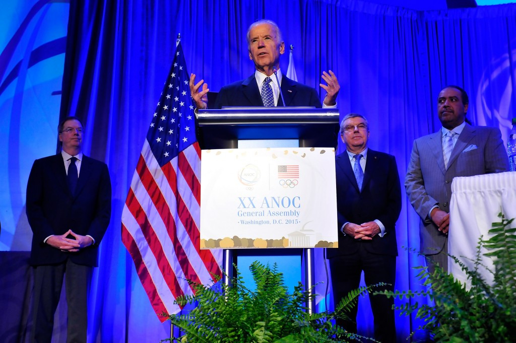 United States' Vice-President Biden praises Los Angeles during surprise ANOC General Assembly visit