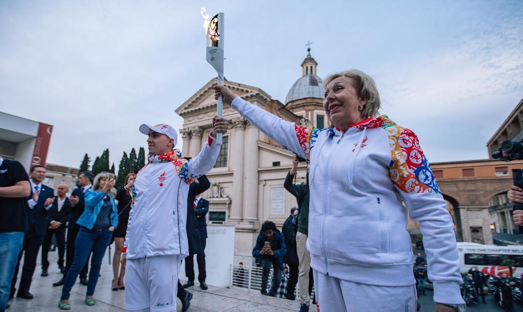 Minsk 2019 Flame heads for the Alps
