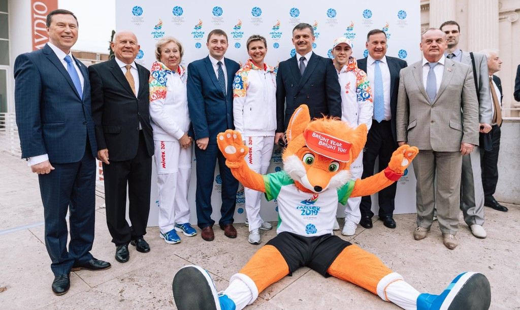 Minsk 2019 mascot, Lesik the baby fox, made an appearance ©Minsk 2019