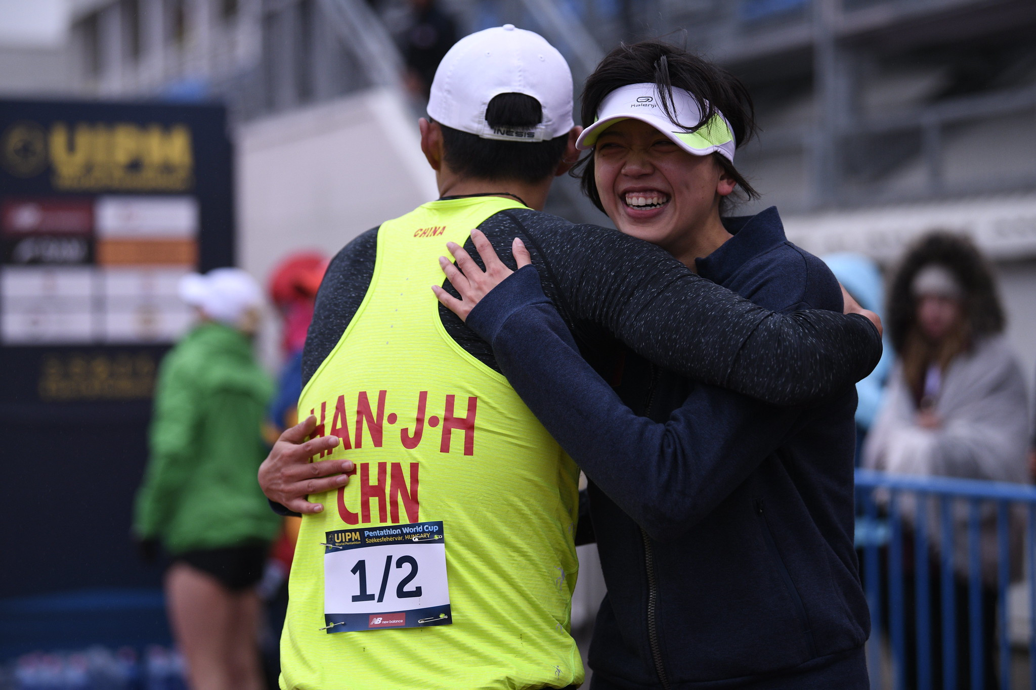 Bian Yufei and Han Jiahao of China won the mixed relay on the final day of the event ©UIPM