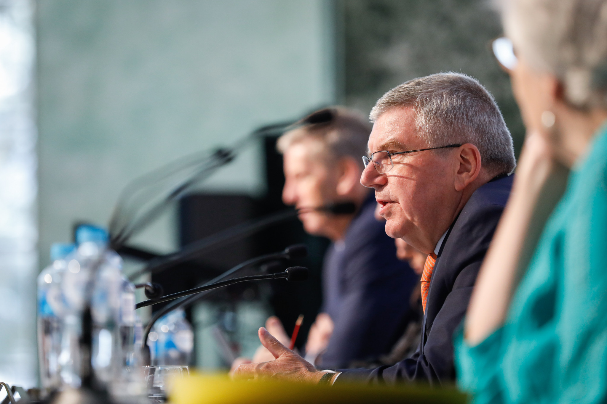 International Olympic Committee President Thomas Bach responds to questions from the media during the Australian Olympic Committee Annual General Meeting in Sydney ©Getty Images