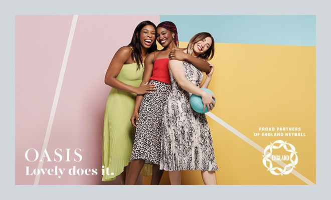 England Netball has announced a partnership with high-street retailer Oasis ©Oasis