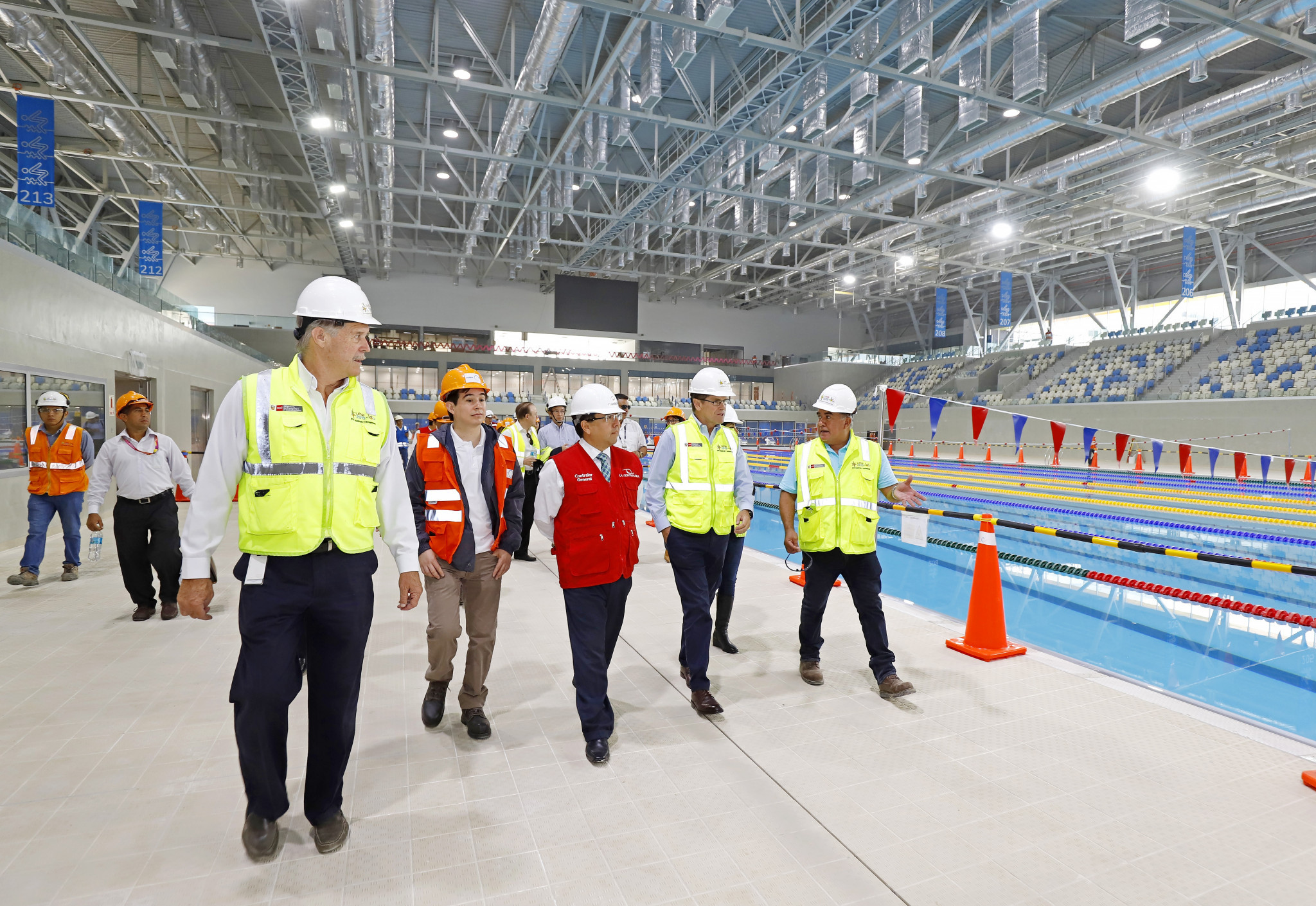 The Aquatic Centre was among the venues visited at the Videna National Sports Village ©Lima 2019