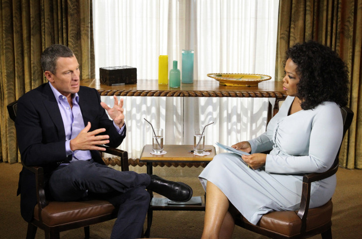 Lance Armstrong tells Oprah Winfrey in 2013 how he doped but did not consider he cheated ©Getty Images