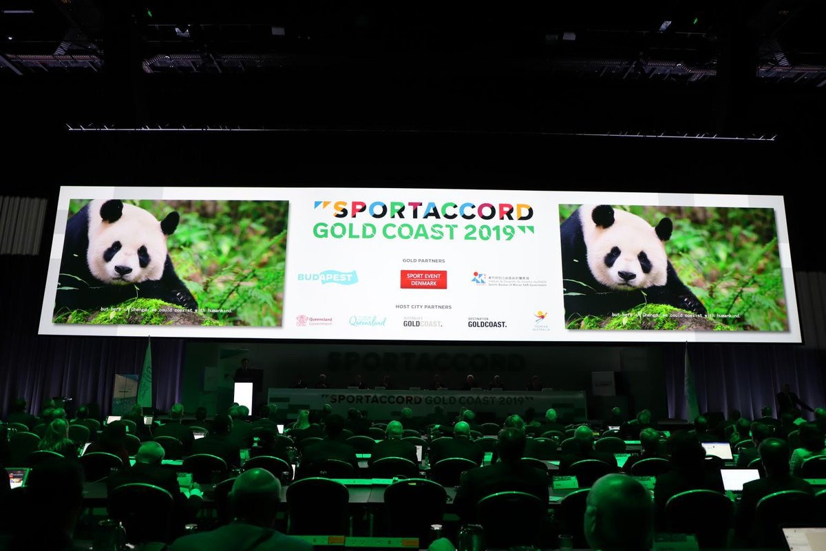 It is no surprise that the famous pandas should have featured in Chengdu's presentation for the 2025 World Games to the IWGA General Assembly in the Gold Coast today ©Twitter