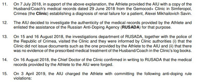 The AIU confirmed Russian athlete Kseniya Savina had provided forged medical documents to support her explanation for the failed test and have now banned her for 12 years ©AIU