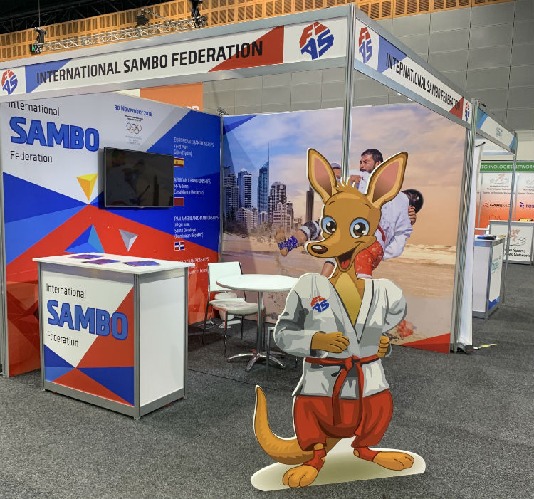 The International Sambo Federation had a visible presence at this year's SportAccord Summit in the Gold Coast, including a kangaroo dressed in a sambo outfit ©FIAS