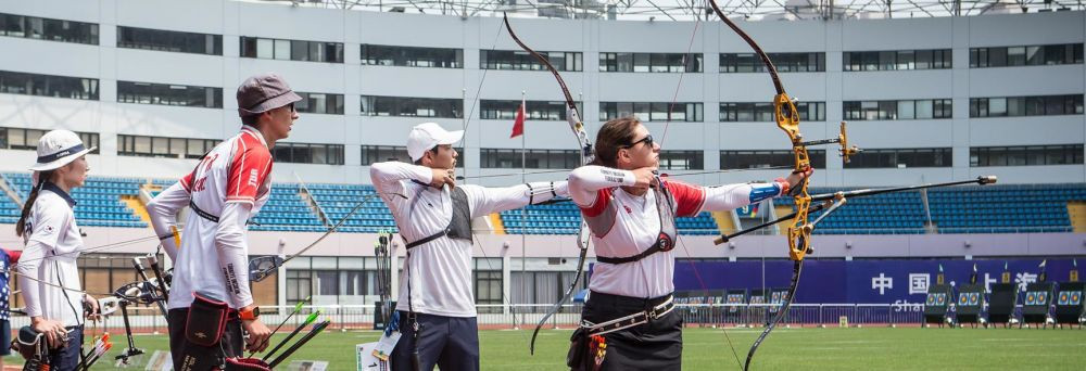 Turkey's Mete Gazoz and Yasemin Anagoz beat the top-seeded South Korean pair to reach Sunday's recurve mixed team final at the Archery World Cup in Shanghai ©World Archery