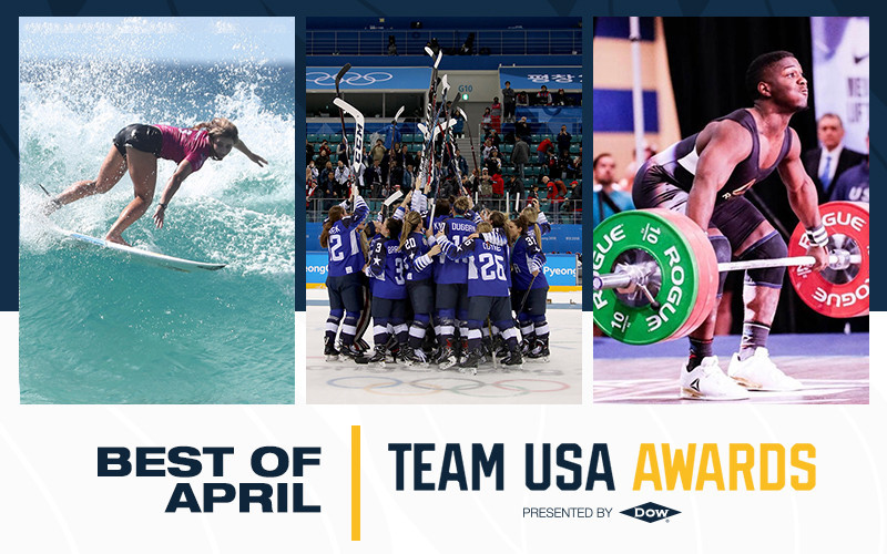 Weightlifter CJ Cummings, surfer Caroline Marks and the United States women's ice hockey team have earned Best of April honours for the Team USA Awards ©Team USA