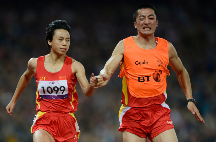 Zhou Guohua, pictured winning London 2012 gold over 100m, was beaten by fellow Chinese world champion Cuiqing Liu over 200m at the World Para Athletics Grand Prix in Beijing ©Getty Images