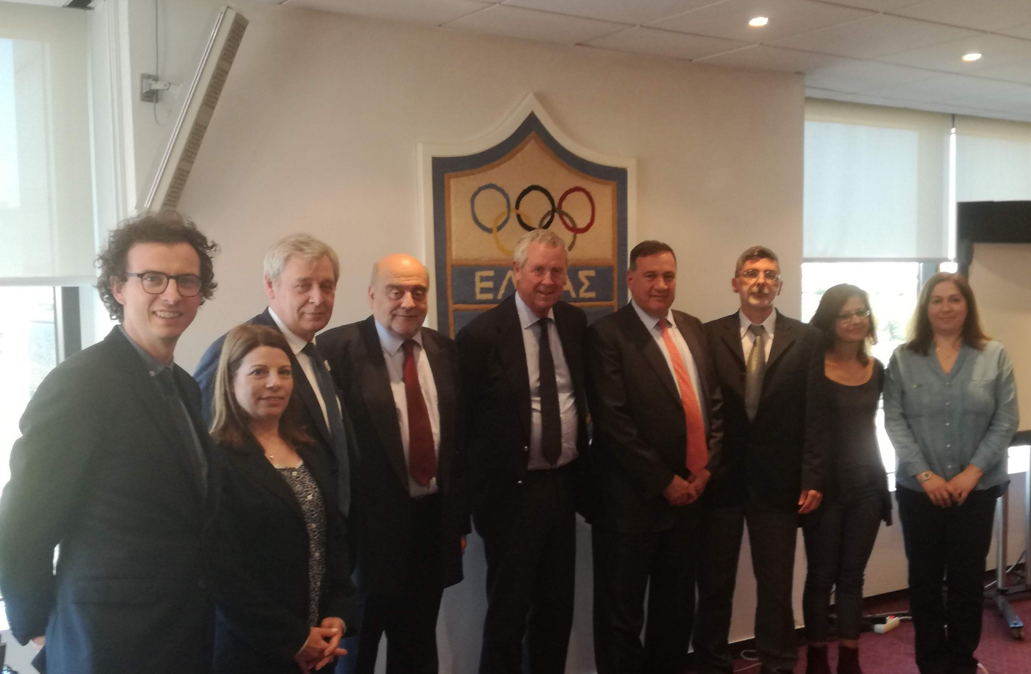 The Greek side included HOC President Spyros Capralos and Johann Pellicot from the Paris 2024 Organising Committee ©HOC