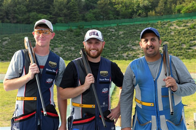 Vincent Hancock, centre, reflects on his men's skeet win at the ISSF Shotgun World Cup in Changwon ahead of US team-mate Christian Elliott, left, and bronze medallist Mansour Al Rashedi of Kuwait ©ISSF