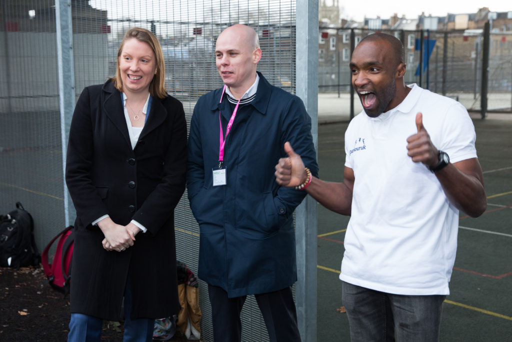 Parkour UK chief executive Eugene Minogue, centre, hailed the appointment of Tracey Crouch ©Parkour UK