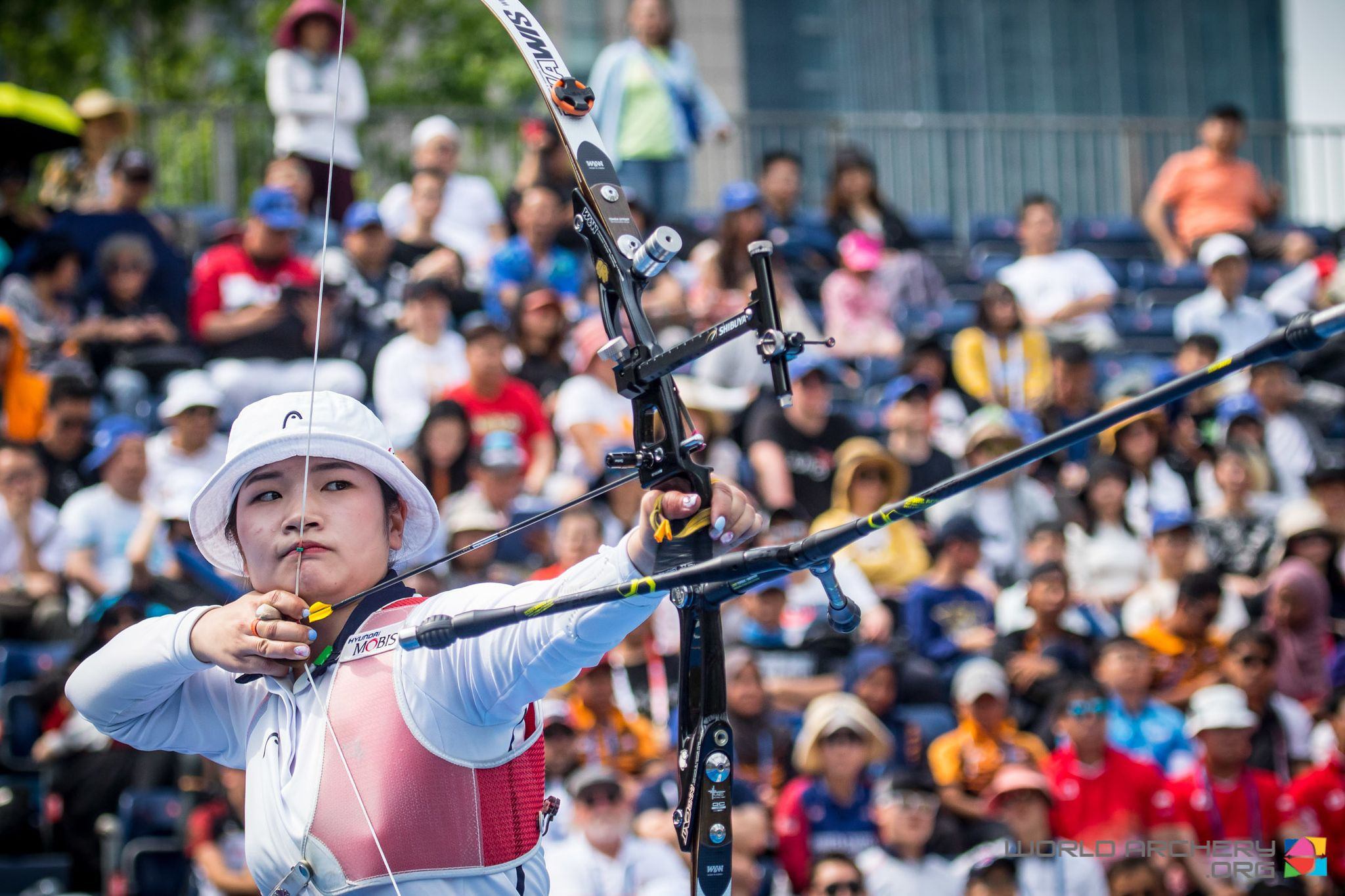 South Korea's Kang Chae-young finished the day with golds in the recurve women's singles and team events at the Archery World Cup in Shanghai ©World Archery