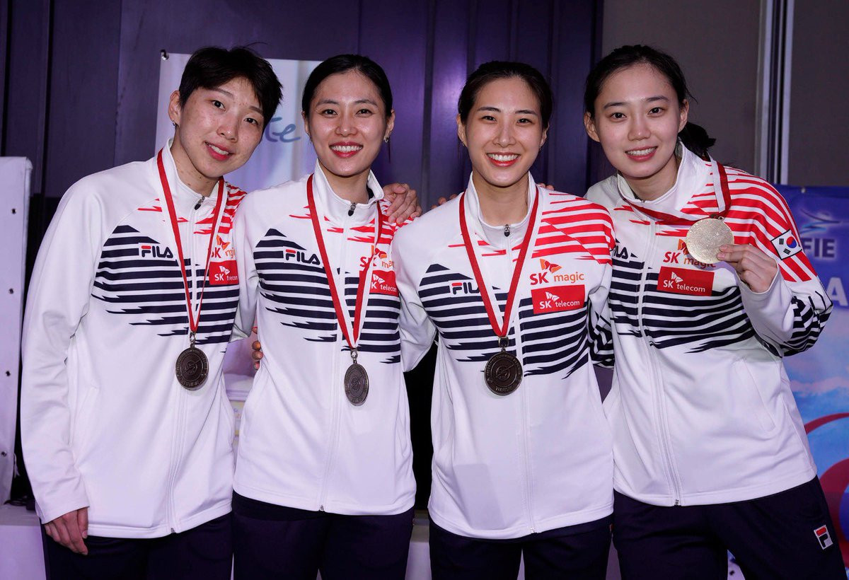 South Korea won team bronze by defeating Japan in the third-place play-off match at the FIE Sabre World Cup in Tunis ©FIE