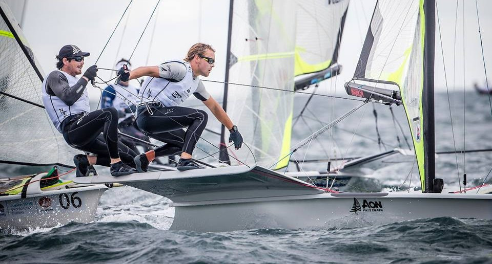 New Zealand's Logan Dunning Beck and Oscar Gunn are leading the 49er European Championships ©Facebook