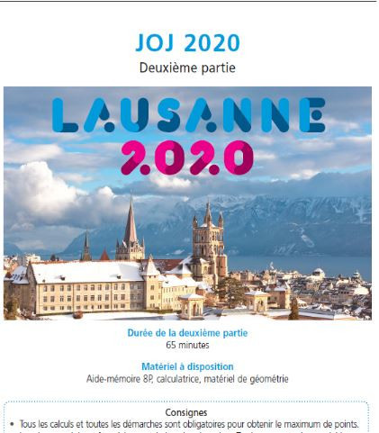 The maths test, based on next year's Lausanne 2020 Youth Olympics, that thousands of schoolchldren in the region took this week ©Lausanne 2020