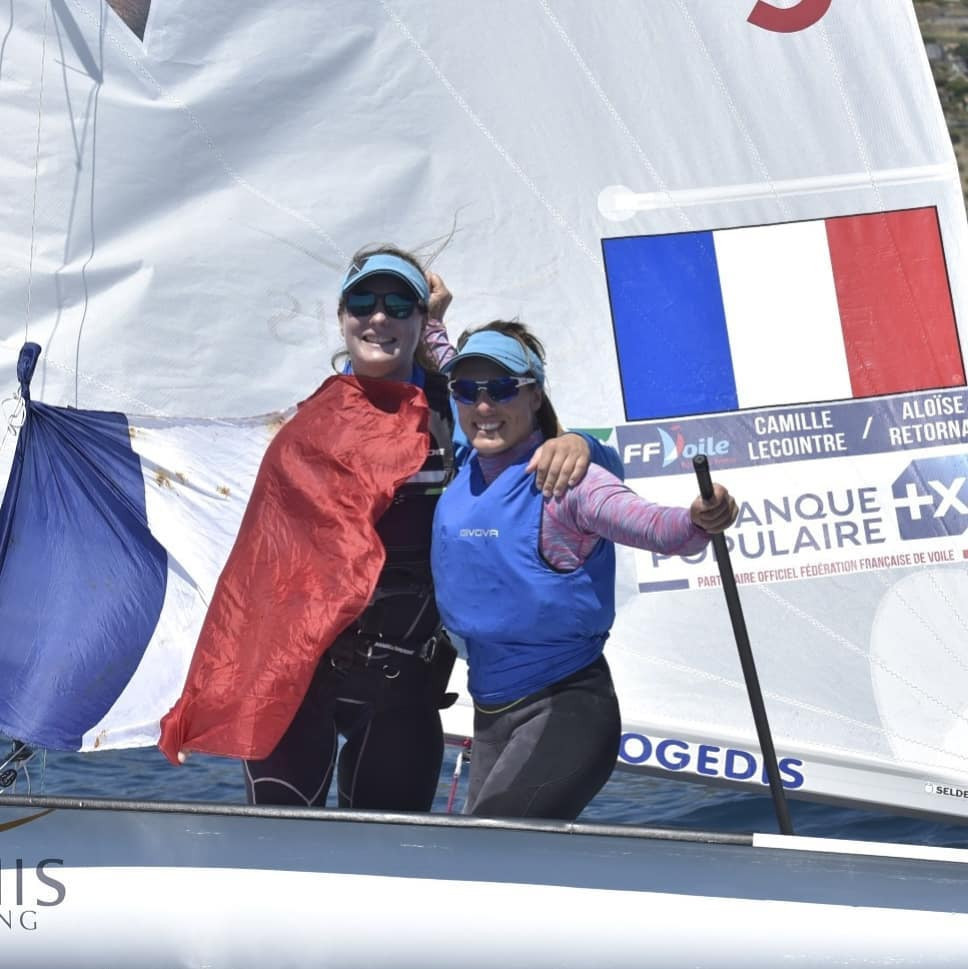 French pair Camille Lecointre and Aloise Retornaz took the women's 470 European title ©Facebook