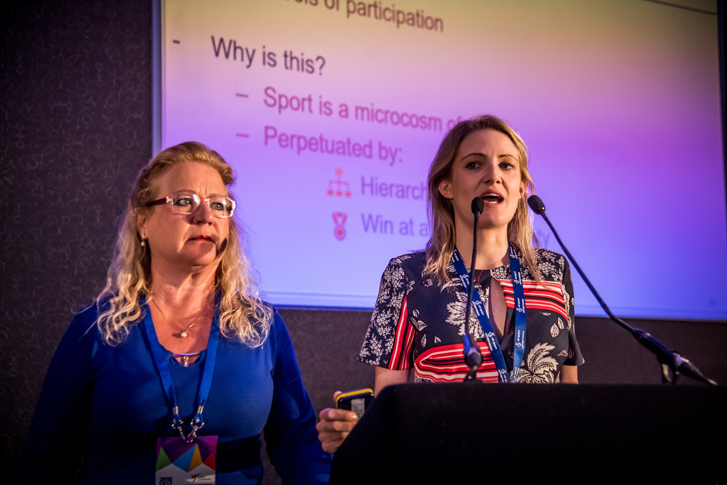 IOC consultants on athlete safeguarding and gender equality, Susan Greinig and Kirsty Burrows, informed the delegates on the importance of a safeguarding policy ©World Taekwondo