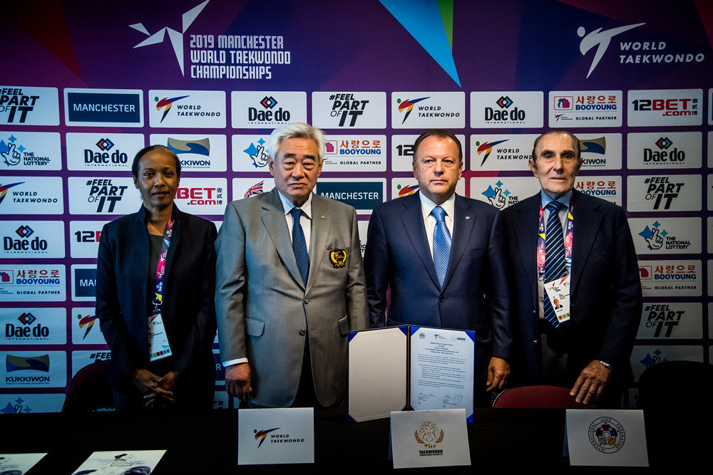 The Memorandum of Understanding signing took place during the opening day of the 2019 World Taekwondo Championships at Manchester Arena ©World Taekwondo