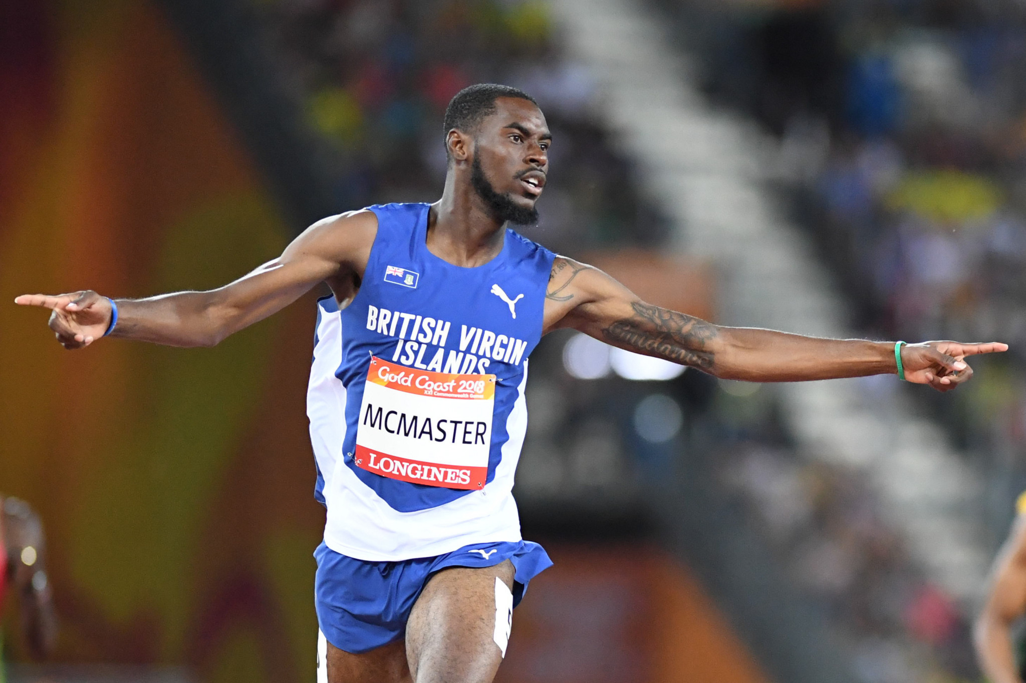 Kyron McMaster wins the Commonwealth 400m hurdles title for the British Virgin Islands last year - his country now hopes he will next earn a medal at the Pan American Games in Lima ©Getty Images