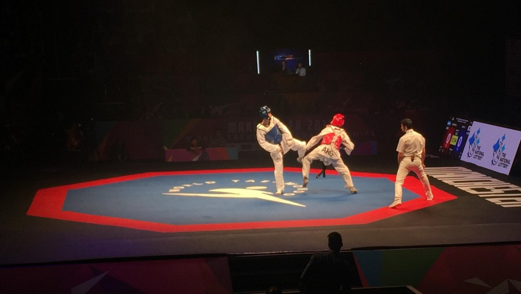 China's Jang Jun comfortably beat Argentina's Lucas Guzman 14-3 to progress to the men's under-58kg final ©ITG