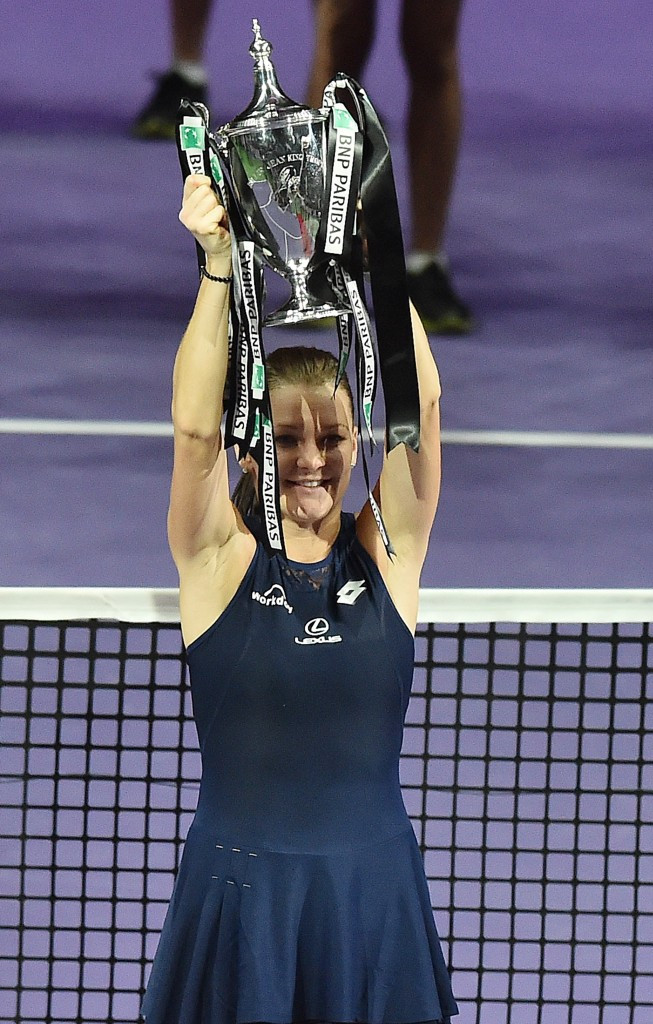 Agnieszka Radwańska celebrates after winning the WTA Finals in Singapore ©Getty Images