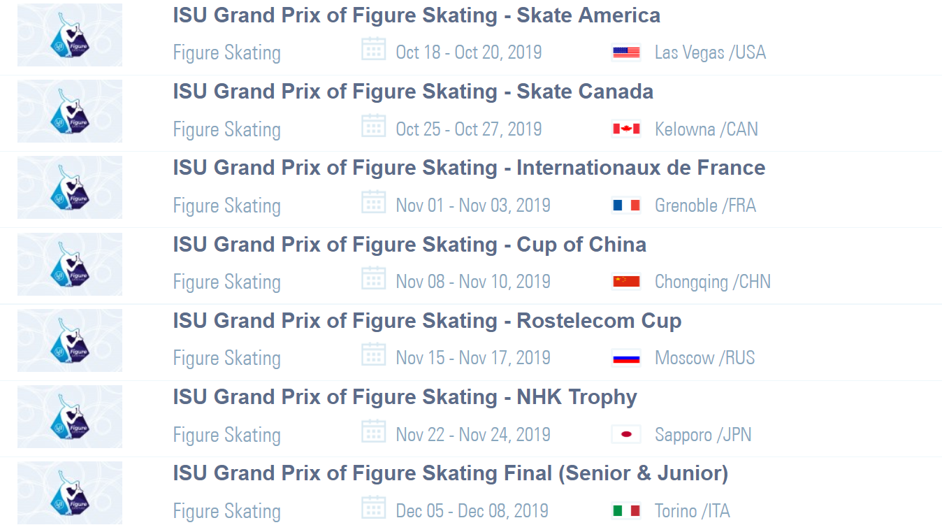 The dates for the different legs of the ISU Grand Prix of Figure Skating season have been determined ©ISU