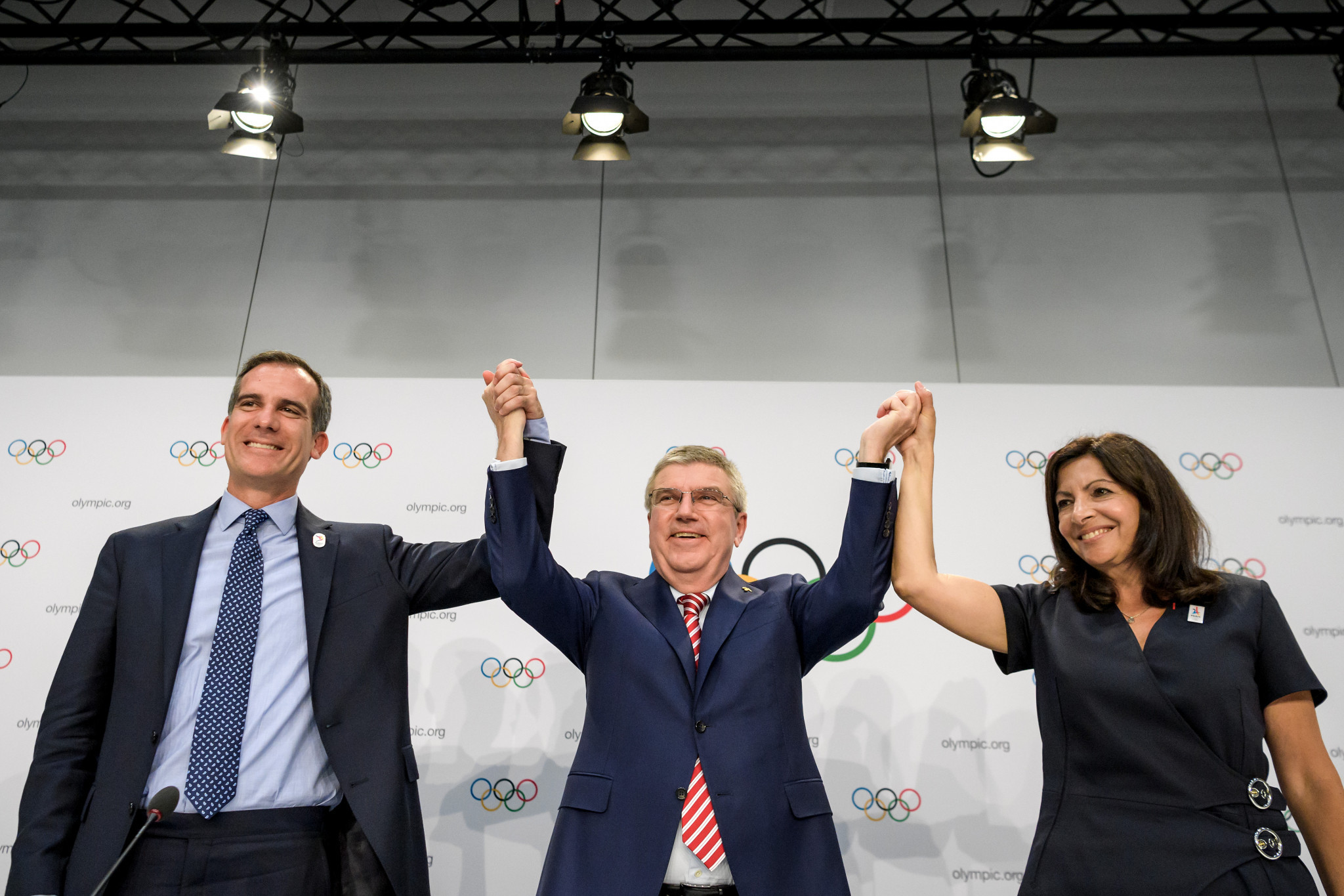 "IOC President Thomas Bach said the ""historic double allocation"" was a win-win for the cities of Paris and Los Angeles ©Getty Images"
