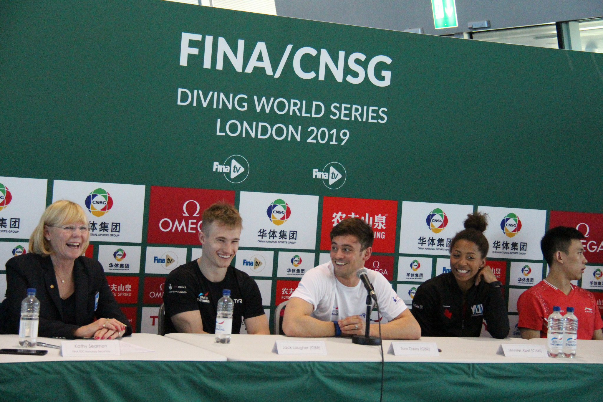Tom Daley, third right, and his British team-mate Jack Laugher, second left, were in fine form before the start of the final FINA Diving World Series event in London ©FINA