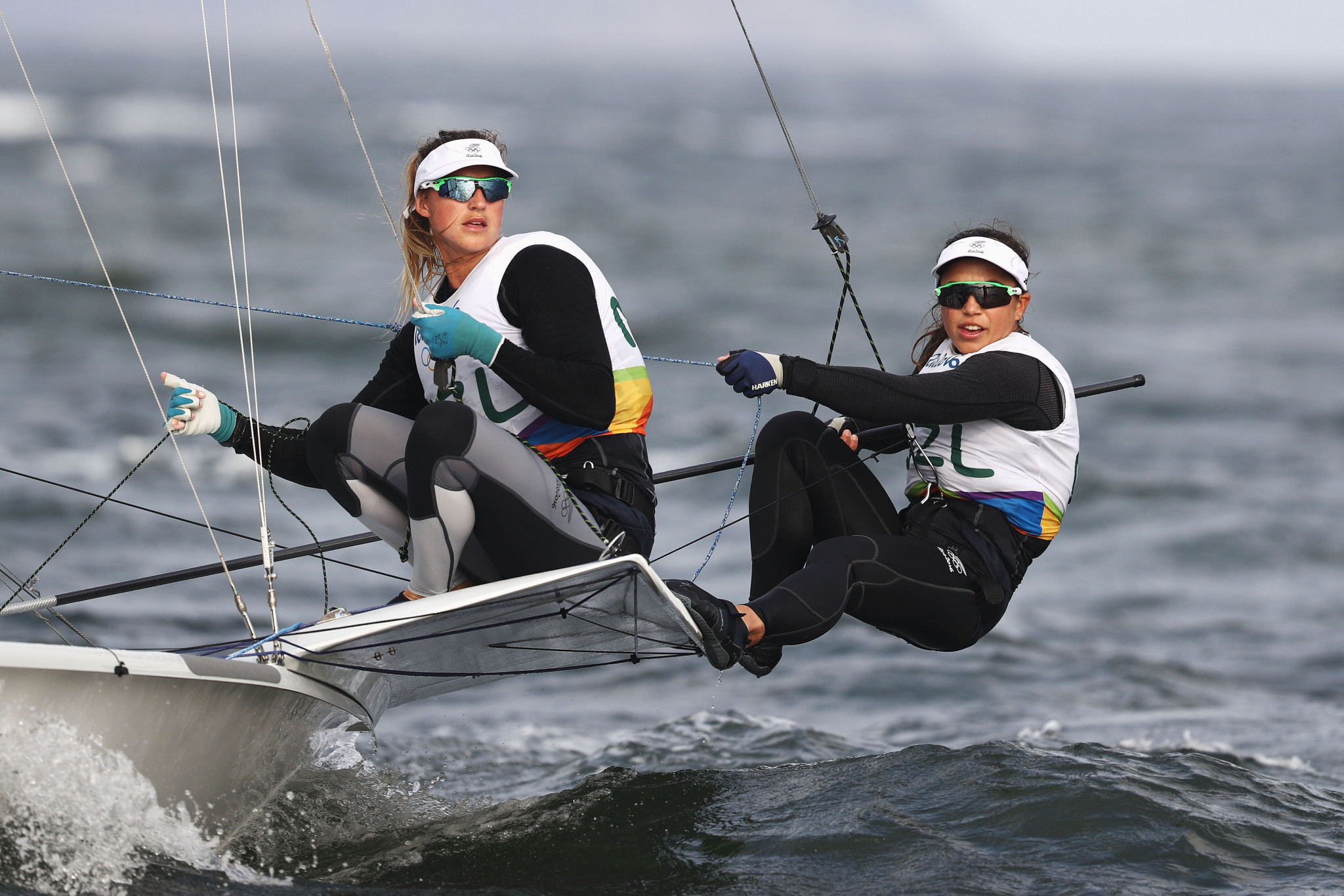 Brazil's Martine Grael and Kahena Kunze performed solidly once more to extend their lead at the 49erFX European Championships in England ©Getty Images